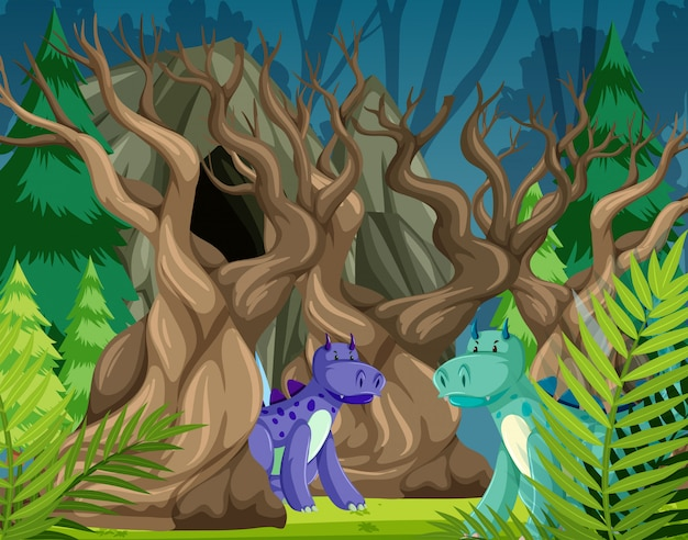 Dinosaurios en escena bosque