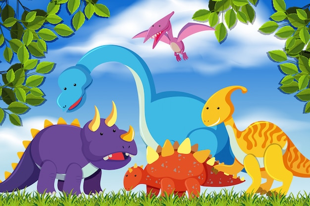 Dinosaurios en escena del bosque