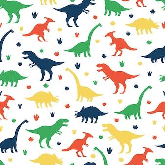 Dinosaurios y huellas de dibujos animados de patrones sin fisuras sobre un fondo blanco para papel tapiz, embalaje, embalaje y telón de fondo.