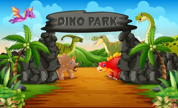 Dinosaurios en una ilustración de entrada al parque de dinosaurios