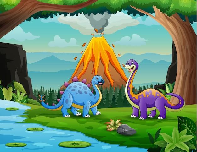 Dinosaurios en la jungla con fondo de erupción volcánica.
