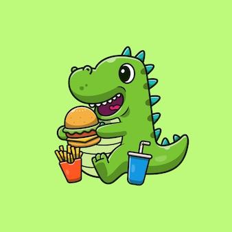 Dinosaurios lindos comiendo hamburguesa ilustración. dino mascota personaje de dibujos animados.