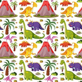 Dinosaurios lindos sin costura y volcán aislado sobre fondo blanco.