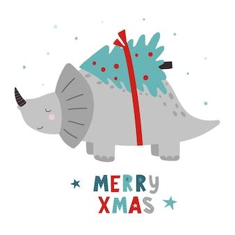 Dinosaurios de navidad roar xmas dino xmas ilustración de vector de personaje divertido en estilo de dibujos animados