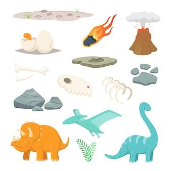 Dinosaurios, piedras y otros símbolos diferentes del período prehistórico.