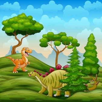 Dinosaurios viviendo en la sabana