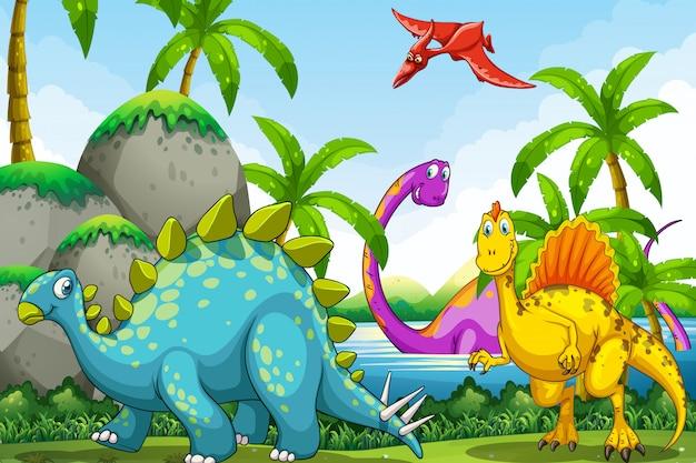 Dinosaurios viviendo en la selva