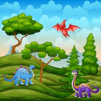 Dinosaurios viviendo en el verde paisaje