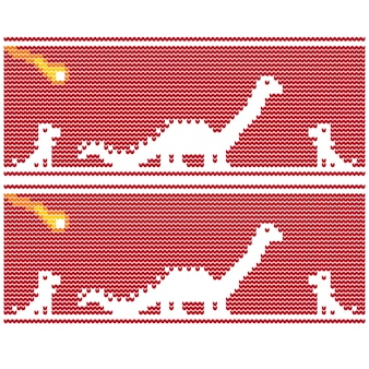Dinosaurs meteor christmas sweater knitted pixel vector art