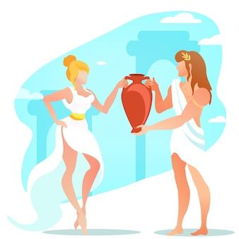 Dioniso o baco y deidades ariadna pareja