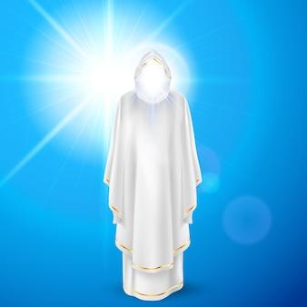 Dios ángel guardián en vestido blanco contra el fondo del cielo y la llamarada del sol brillante. concepto religioso