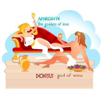 Dios dionisio con afrodita diosa bebiendo vid.