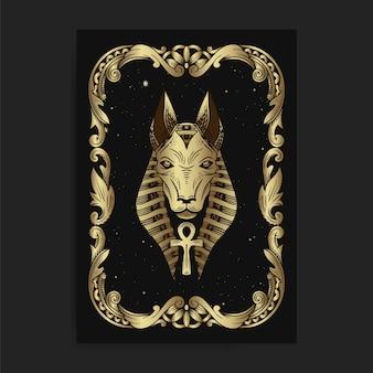 El dios egipcio seth o anubis, con grabado, handrawn, lujo, esotérico, estilo boho, apto para paranormal, lector de tarot, astrólogo o tatuaje.