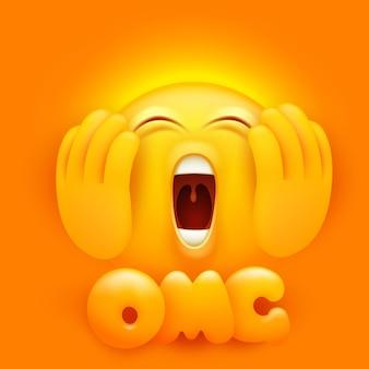 Dios mio. personaje de dibujos animados de emoji llorando