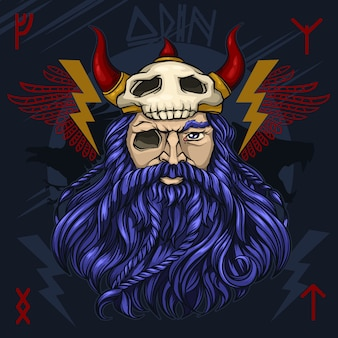 El dios nórdico odin ilustración vectorial