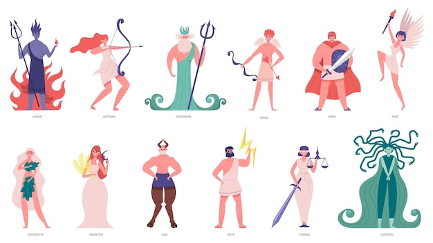 Diosa y dioses griegos. dioses y héroes de dibujos animados olímpicos, poseidón, hades, zeus y hermes