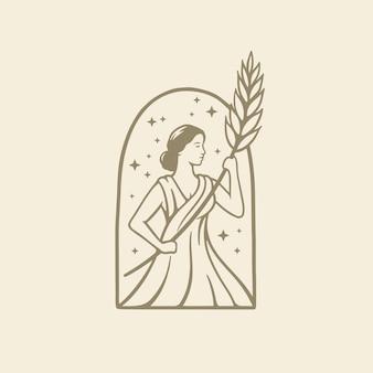 Diosa griega en la antigua religión romana y el mito sostienen trigo