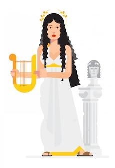 Diosa griega en el estilo de los dibujos animados. vector.