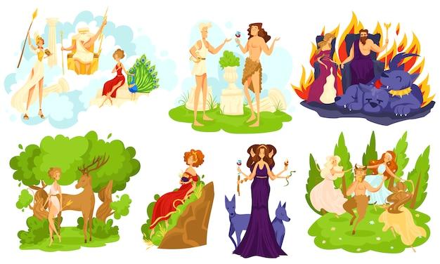 Dioses y diosas de la mitología griega, conjunto de personajes de dibujos animados, ilustración