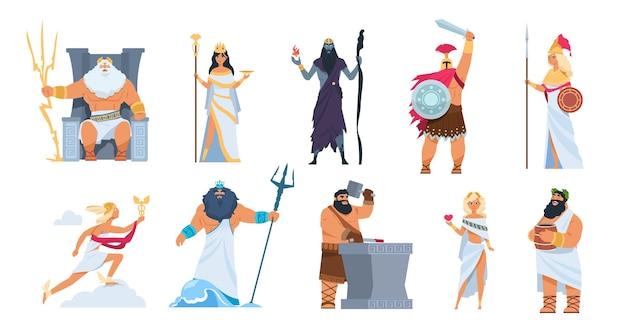 Dioses griegos. dibujos animados de personajes de la mitología antigua, dioses vectoriales zeus ares poseidón y diosa aislada sobre fondo blanco