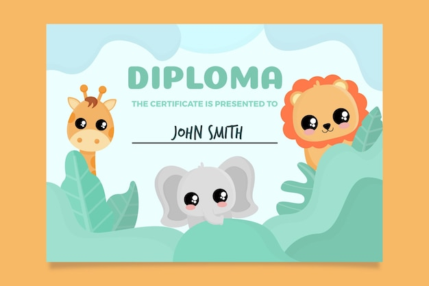 Diploma abstracto para niños con dibujos animados de animales