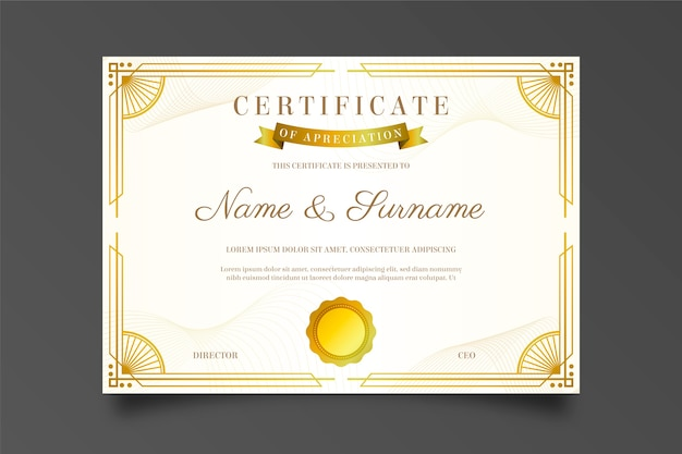 Diploma de agradecimiento con marco dorado y sol de proa