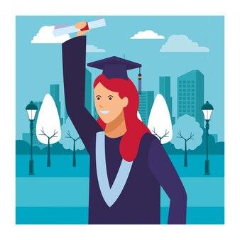 Diploma de ceremonia de graduación femenina