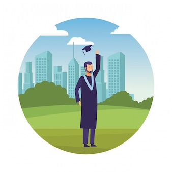 Diploma de ceremonia de graduación del hombre