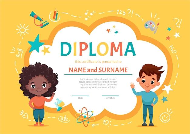 Diploma de certificado para niños o niños en jardín de infantes o preescolar elemental con una linda chica negra con cabello oscuro y rizado saludando junto con su amigo, un chico lindo. ilustracion de dibujos animados