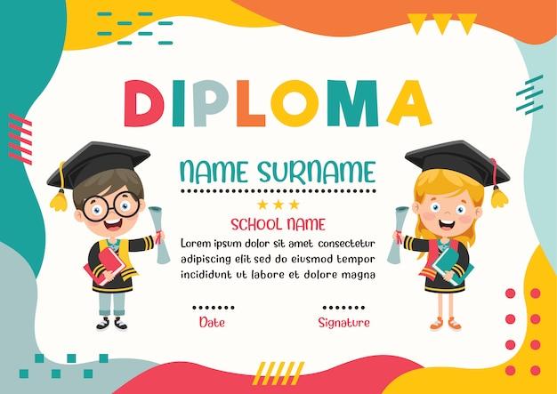 Diploma certificado para niños de preescolar y primaria