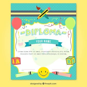 Diploma colorido de la escuela