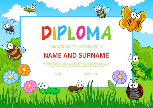 Diploma de educación para jardín de infantes con insectos.