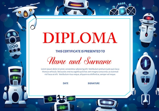 Diploma de educación para niños con robots, certificado de vector para la escuela o jardín de infantes con cyborgs humanoides de dibujos animados, personajes de inteligencia artificial de androides o drones, plantilla de marco de graduación de premio