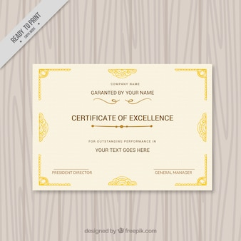Diploma elegante con ornamentos