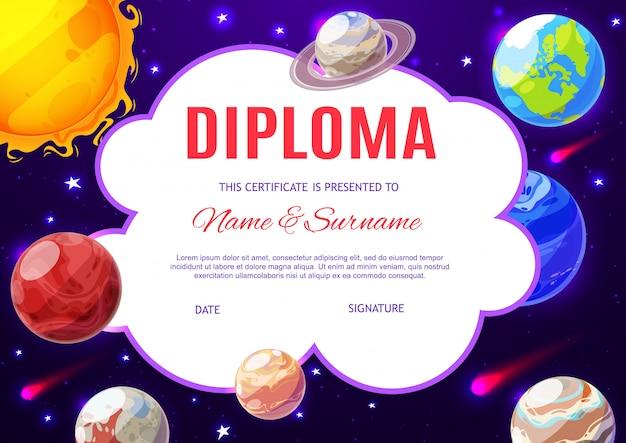 Diploma escolar de educación con planetas del sistema solar.