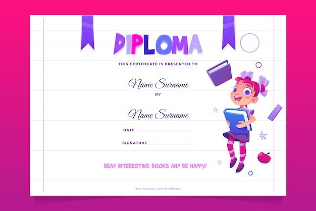 Diploma escolar para niños niño feliz con libro