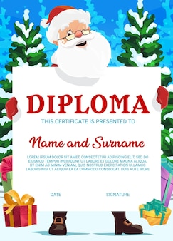 Diploma de la escuela de educación, certificado de navidad