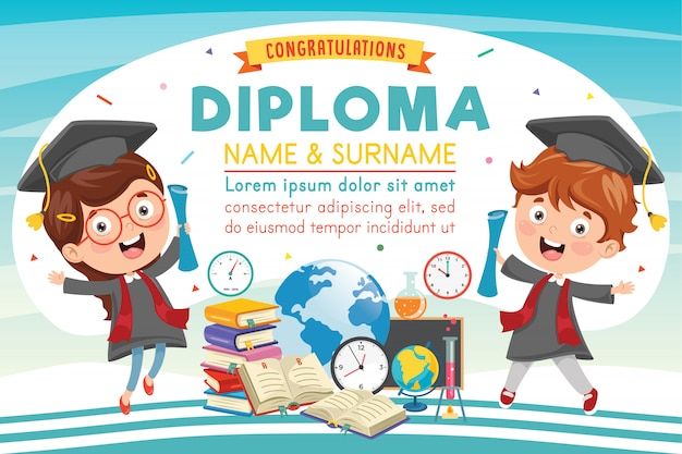 Diploma de escuela primaria preescolar