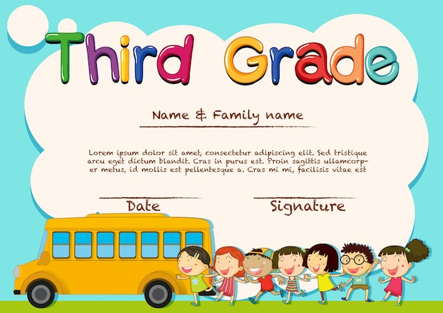 Diploma para estudiantes de tercer grado.