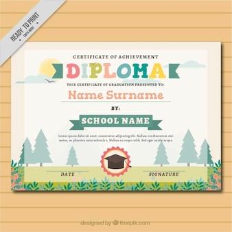 Diploma floral para niños en diseño plano