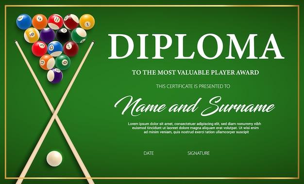 Diploma para el ganador del torneo de billar, plantilla de certificado con taco y bolas en tela verde.