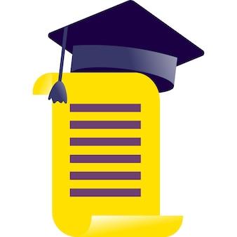 Diploma icono vector plano grado premio certificado