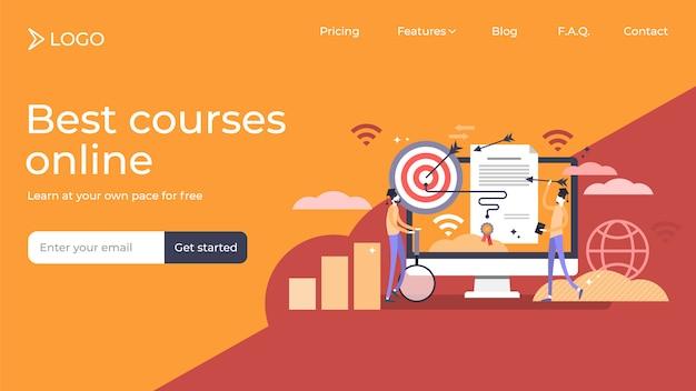 Diploma de marketing personas planas pequeñas ilustración vectorial diseño de plantilla de página de destino