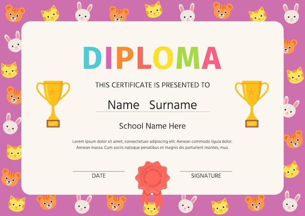 Diploma de niño, certificado. ilustración. lindo diseño preescolar.