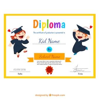 Diploma niño con los niños divertidos