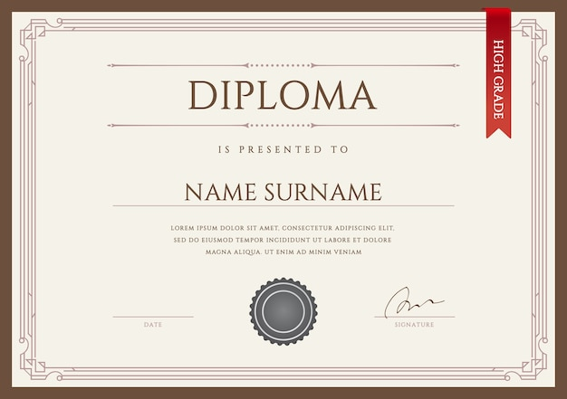 Diploma o certificado premium