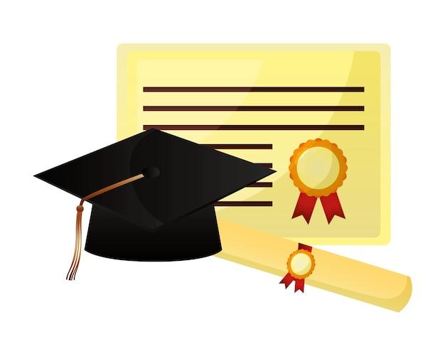 Diploma de pergamino y graduación de sombrero