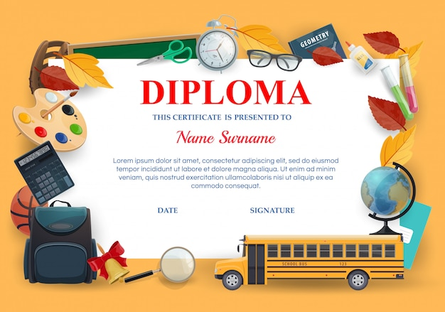 Diploma, plantilla de certificado de educación escolar, premio de posgrado de preescolar y jardín de infantes. certificado de diploma de graduación para cursos escolares con elementos de lecciones, mochila escolar y autobús