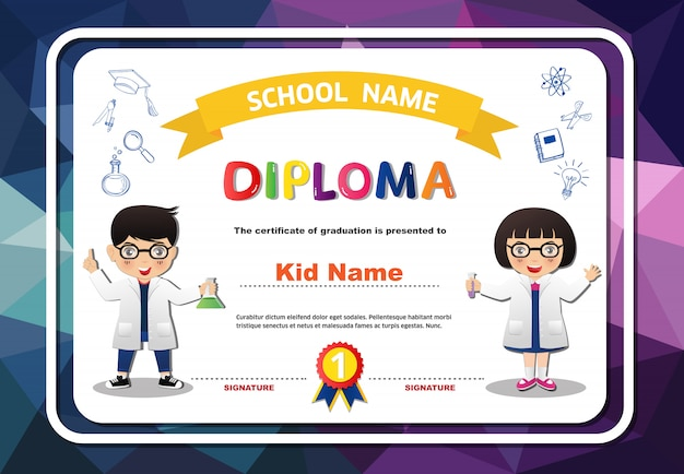Diploma de preescolar niños y niñas certificado poligonal