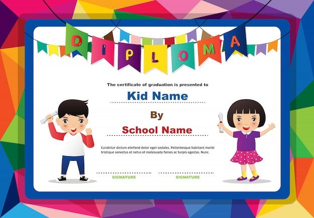 Diploma de preescolar para niños, niñas y niños.